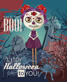 Happy Halloween vector invitation card with zombie Royalty Free Stock Photo