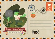 Happy halloween vector invitation postage style. Stock Photos