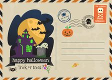 Happy halloween vector invitation postage style. Royalty Free Stock Image