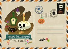 Happy halloween vector invitation postage style. Stock Photography