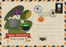 Happy halloween vector invitation postage style. Stock Photo
