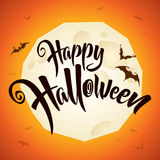 Happy Halloween vector lettering with full moon Stock Photography