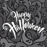 Happy Halloween vector lettering with patterned background Stock Images
