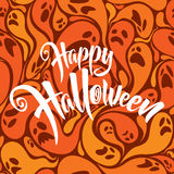 Happy Halloween vector lettering with patterned background Royalty Free Stock Photo