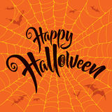 Happy Halloween vector lettering. Spooky spider web background. Stock Photography