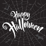 Happy Halloween vector lettering. Spooky spider web background. Royalty Free Stock Images