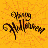 Happy Halloween vector lettering. Spooky spider web background. Stock Image