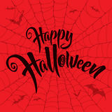 Happy Halloween vector lettering. Spooky spider web background. Stock Photo