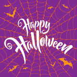 Happy Halloween vector lettering. Spooky spider web background. Stock Photos