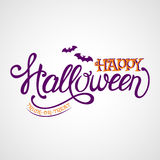 Happy Halloween vector lettering. Happy Halloween! Trick-or-treat. Lettering banner with bats. Vector card Royalty Free Stock Images