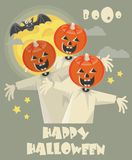 Happy Halloween vector party poster. Boo!. Happy Halloween vector party poster with halloween icons. Trick or treat. Boo Stock Photography