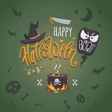 Happy halloween. Vector poster with hand-drawn lettering and traditional elements for halloween: pot with a potion, witch hat, ghost, bunch of poisonous Stock Photo