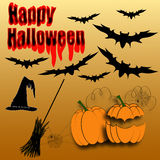 Happy Halloween vector. Spooky Halloween vector with black bats, pumpkins, witches broom and hat Royalty Free Stock Photography
