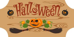 Happy halloween vintage badge on a wooden board seamless background. Vector illustration. Pumpkin background broom with a sign on a wooden halloween boards Royalty Free Stock Photos