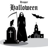 Happy_helloween. Happy halloween vintage inscription, gravestone with white cross, raven, death with a scythe, bat, abandoned church on a white background Stock Illustration