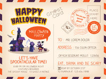 Happy Halloween Vintage Postcard invitation background design Stock Photos