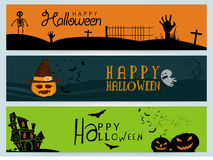Happy Halloween web header or banner set. Colorful website header or banner set, Scary background with graveyard, pumpkin and castle, Creative illustration for Royalty Free Stock Images