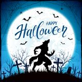 Happy Halloween with werewolf and bats on blue Moon background Stock Photos
