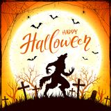 Happy Halloween with werewolf and bats on orange Moon background Royalty Free Stock Images