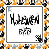 Happy halloween white poster. Halloween party poster with bloody fingerprints of zombies. For decoration of congratulatory products for Halloween Stock Photos
