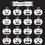 Happy Halloween - White Pumpkin. Vector Easy-To-Use 16 Flat Emoticons Of White Pumpkin As Different Facial Expressions On Black Background With Happy Halloween Royalty Free Stock Photos