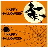 Happy Halloween, witch on a broomstick vector illustration