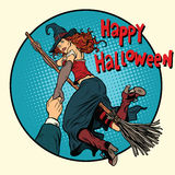 Happy Halloween witch on a broomstick follow me. Pop art retro vector illustration. Woman in holiday costume vector illustration