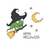 Happy Halloween. Witch on a broomstick. Trick or Royalty Free Stock Photography