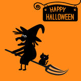 Happy Halloween witch and cat card. Royalty Free Stock Photography
