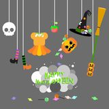 Happy halloween with the witch costume set and candy stock illustration