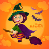 Happy Halloween Witch Girl Flying on Broom Royalty Free Stock Photo