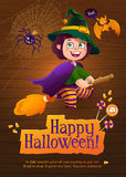 Happy Halloween Witch Girl Flying on Broom Royalty Free Stock Photos