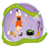 Happy Halloween. A witch in her lair witch her broom cat cauldron etc stock illustration