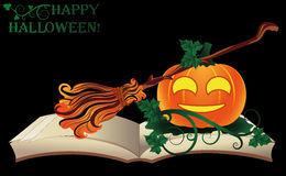 Happy Halloween. Witch old book with pumpkin Stock Photography