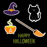 Happy Halloween witch set. Black cat, hat Royalty Free Stock Photography