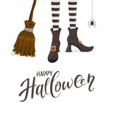 Happy Halloween with witches legs and broom. Lettering Happy Halloween with witches legs in shoes, broom and spider on white background, illustration royalty free illustration
