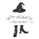 Happy Halloween with witches shoes and hat Royalty Free Stock Photos
