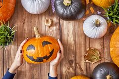 Family preparing for holiday. Happy halloween! Woman carving pumpkin on the table in the home. Family preparing for holiday. Top view. Close up Royalty Free Stock Image
