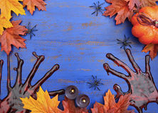 Happy Halloween Wood Background with Copyspace. Stock Images