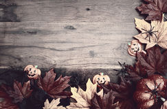 Happy Halloween Wood Background with Copyspace. Stock Photo