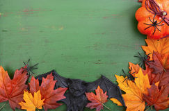 Happy Halloween Wood Background with Copyspace. Stock Photos