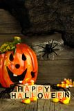 Happy Halloween wooden blocks with Jack o Lantern and decor Stock Images