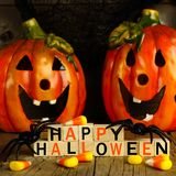 Happy Halloween wooden blocks with Jack o Lanterns and candy Stock Image
