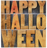 Happy Halloween word abstract in wood type Stock Photos