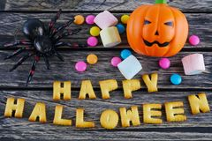 Happy Halloween words decoration with scary spider, candy and pumpkin on wooden background Stock Image