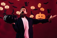 31 october. Make up and scary concept for man. Halloween, holidays celebration. Celebration party. Happy hipster with royalty free stock photos