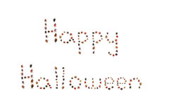 Happy halloween written by autumn leaves Stock Photo
