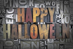 Happy Halloween. Written in vintage letterpress type Stock Photo