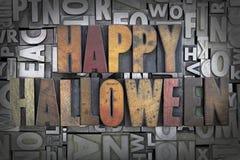 Happy Halloween. Written in vintage letterpress type stock photo