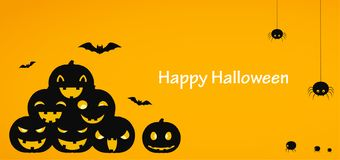 Happy Halloween. Yellow background or banner with pumpkins, descending spiders and bats. Illustration stock illustration